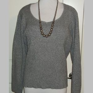 Ladies marbled gray knit weater top pull over EUC